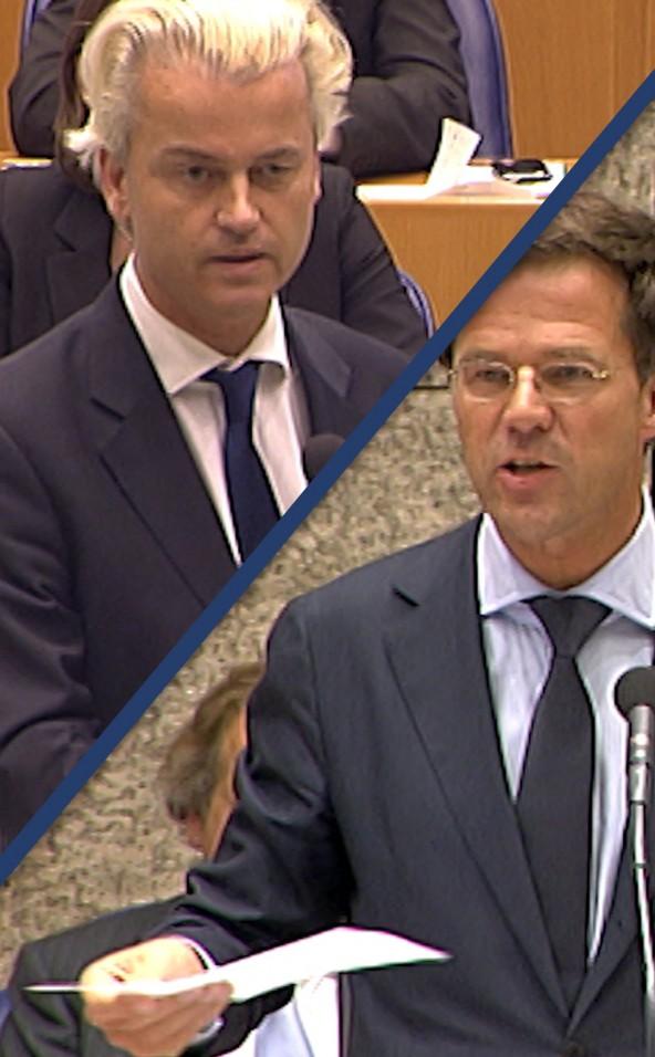 PVV-leider Geert Wilders tegenover minister-president Mark Rutte (VVD) in de Tweede Kamer