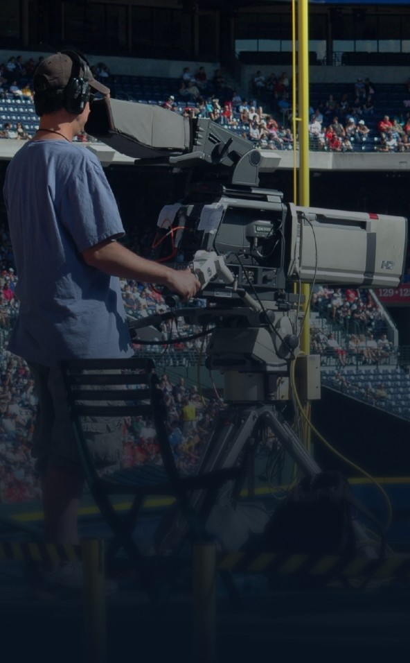 Camera neemt sportwedstrijd op.